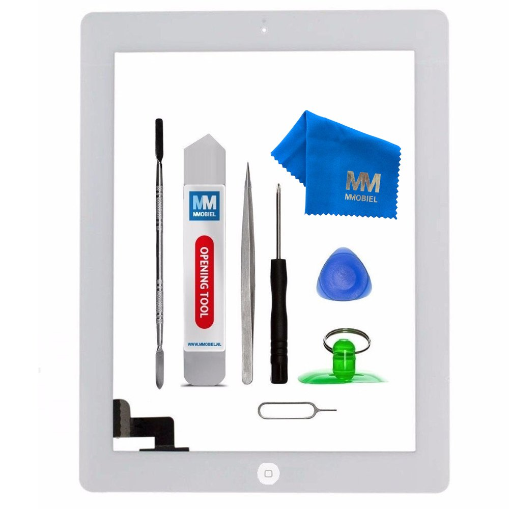 MMOBIEL Digitizer for IPAD 2 (White) 9.7 Inch Touch Screen Front Display Assembly Incl Home Button Flex Camera Holder Pre Installed Adhesives and Tool kit
