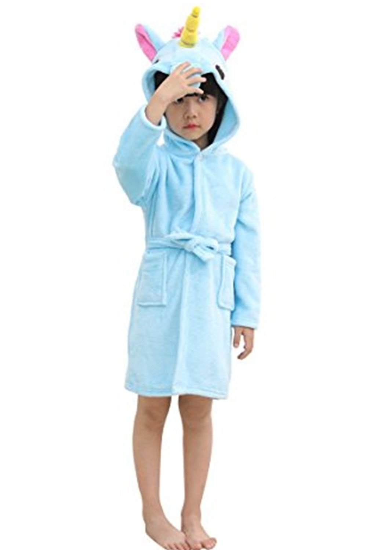 Mystery&Melody Unicorn Bathrobe Kids Robe Beach Pool Cover Hooded Pajamas costume (Blue, 100(90-100cm))