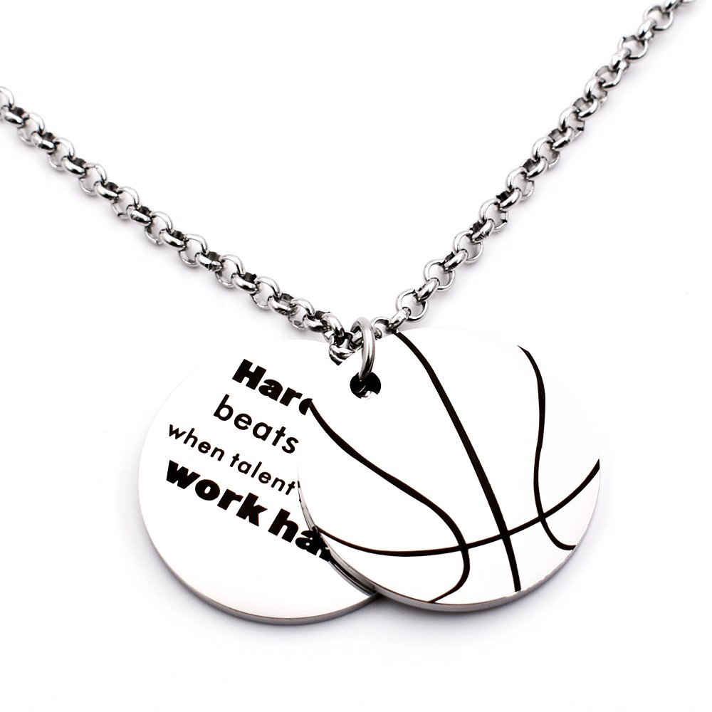 N.egret Hall of Fame Basketball Pendant Necklace Chain Sports Jewelry Inspirational Quote Baseball Gift teens Daughter Son (Basketball)