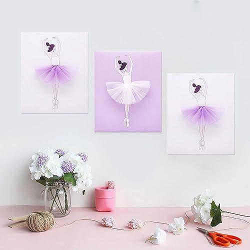 AmazingWall Dance Wall Decal Ballet Art Decor Painting on Canvas Baby Nursery and Girls Room Decor 9.84×11.81 3Pcs Set