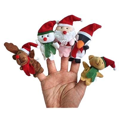Happy Cherry - Lot de 5 Marionnette à Doigt en Thème de de Noël pour Enfant Bébé - Marionnette Mignon pour Bébé Fille Garçons