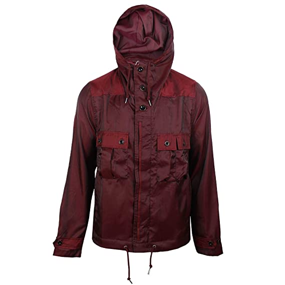a20316b59 Pretty Green Coat Iridescent Mens Burgundy Hooded Jacket: Amazon.co ...