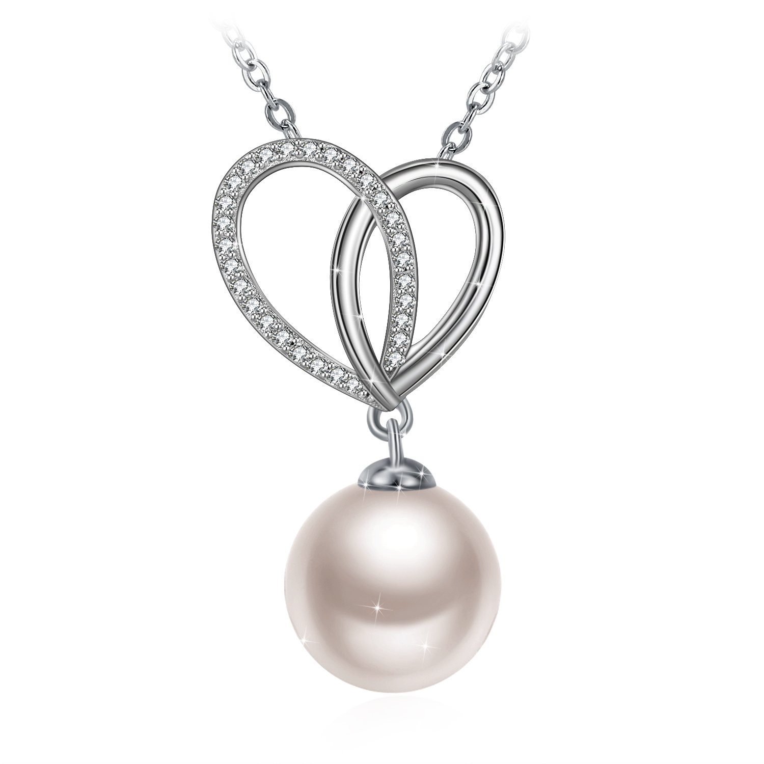J.Rosée Womens Fashion 925 Sterling Silver Single Round White Simulated Shell Pearl Pendant Necklace JRUS-1468