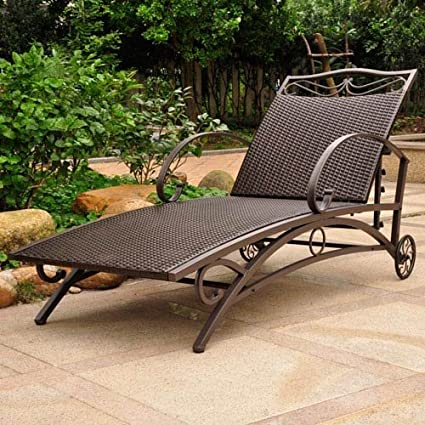 International Caravan Valencia Resin Wicker/Steel Multi Position Single Chaise Lounge