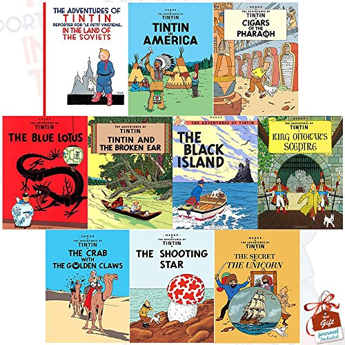 The Adventures of Tintin Series 1 to 2 : 10 book Collection Set inc Tintin in the Land of the Soviets, Tintin in America, Cigars of the Pharaoh, The Blue Lotus, The Broken Ear