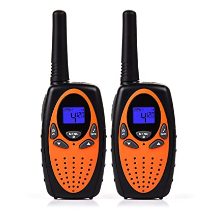 Funkprofi Walkie Talkie Set für Kinder PMR Funkgerät 8 Kanäle 2-Wege Radio Funkhandy Interphone mit LCD Display 2 Stück Orang