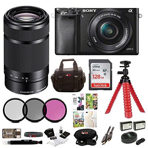Sony Alpha a6000 Mirrorless Camera w/16-50mm & 55-210mm Lenses & 128GB Bundle (Black) (Compact Sony Digital Slr Cameras)