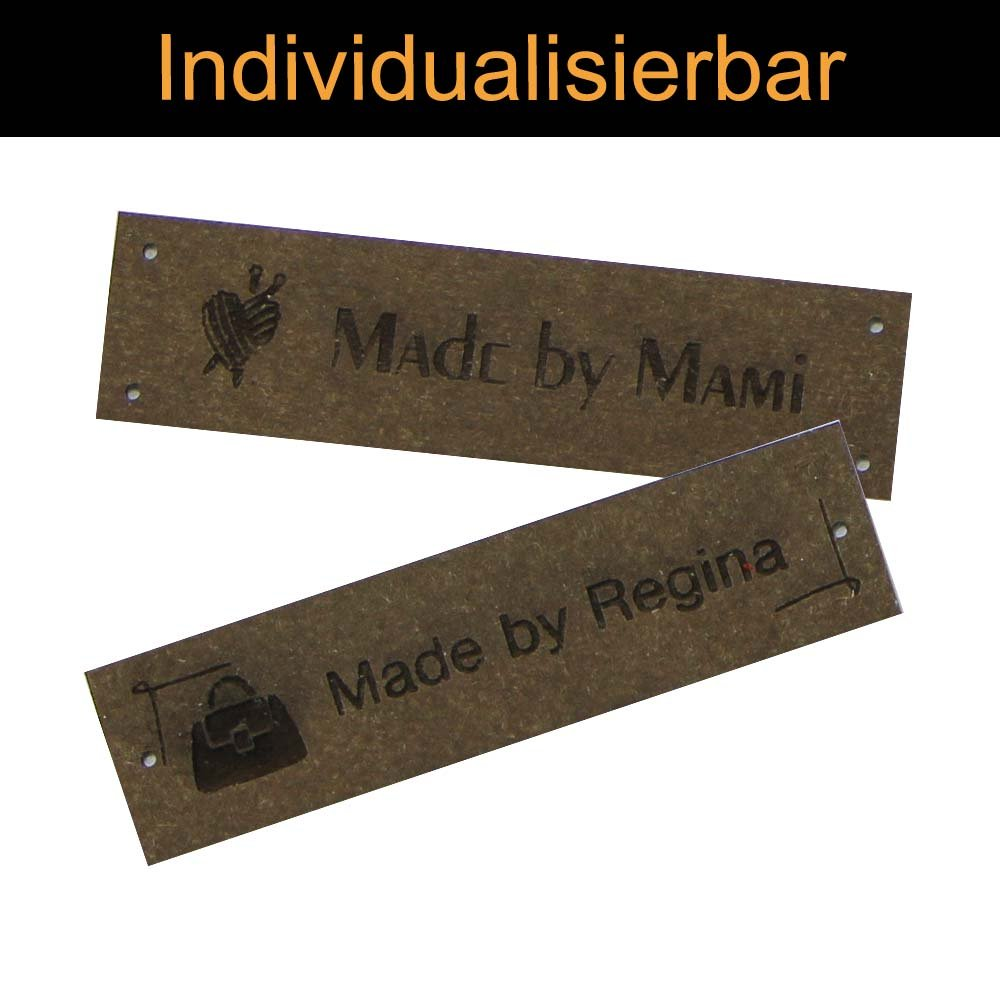 Marron Chocolat Lot de 2 naPour des hommesbaender SnapPap étiquettes en Cuir avec étiquettes en Cuir Motif Personnalisable 15 x 60 mm