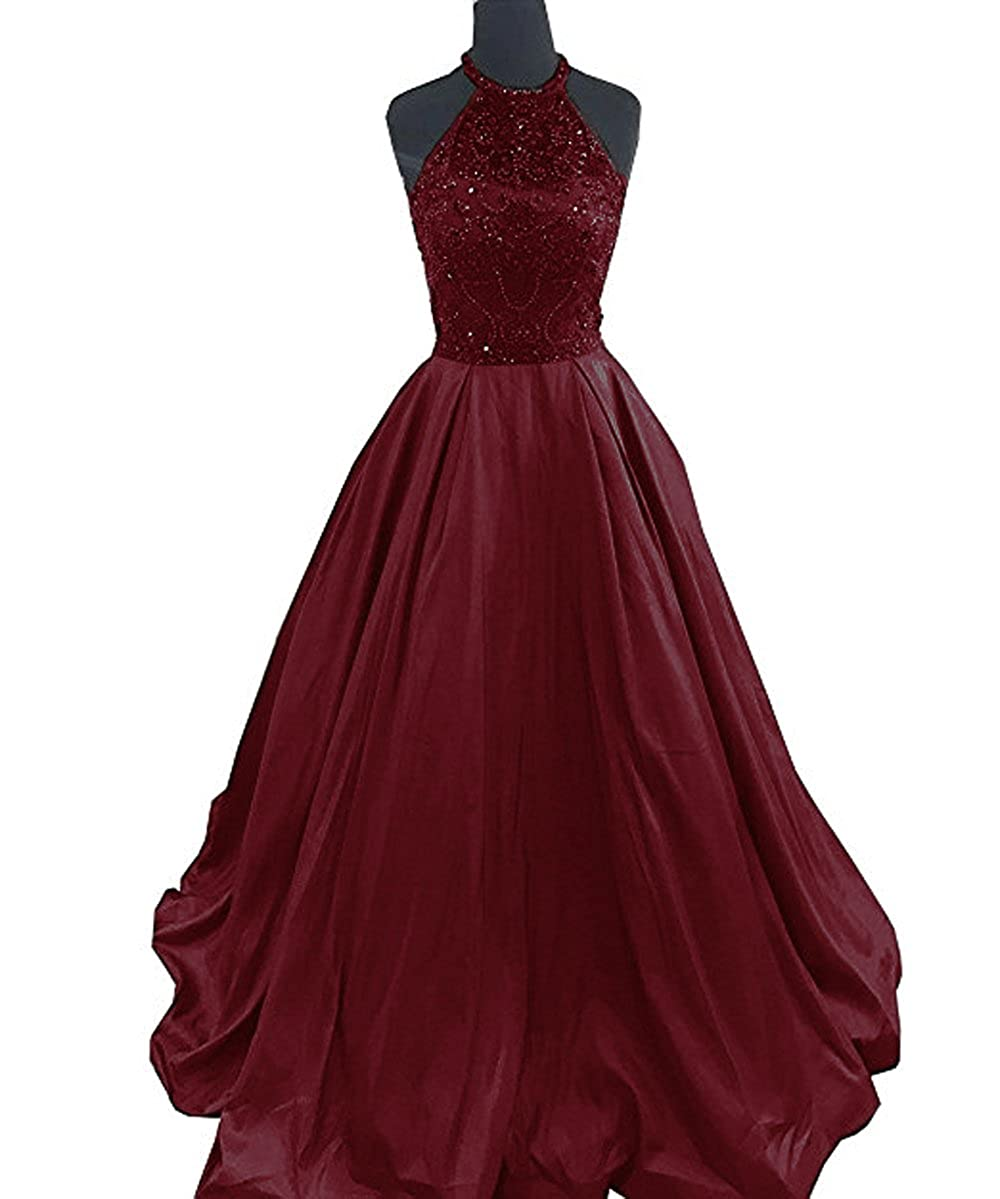 Burgundy Lnxianee Women's Halter Beaded Prom Dresses Long Formal Satin Party Evening Gowns