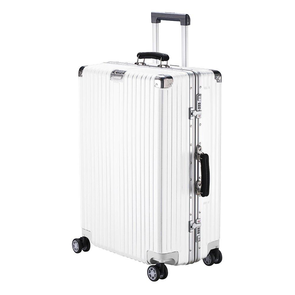 XZY スーツケース キャリーケース 無段階調節 TSAロック搭載 8輪360度 荷崩れを防ぐ Sサイズが機内持ち可 B077YNVHWR S|ホワイト ホワイト S