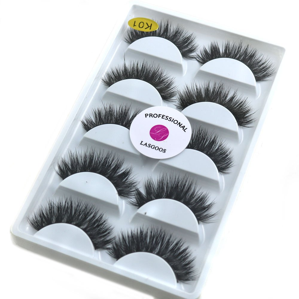 3D Real Mink False Eyelashes LASGOOS 100% Siberian Mink Fur Luxurious Wispy Natural Cross Thick Long Wedding Fake Eye Lashes 5 Pairs/Box MY-0145 Ai Mei Er