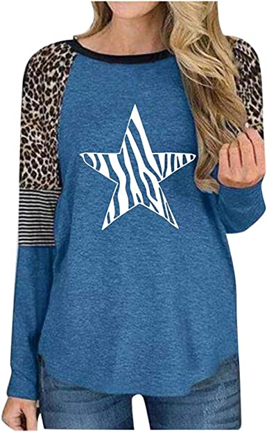 F/_topbu Sweatshirts for Women Long Sleeve O-Neck Tops Stars Leopard Printed Striped Splicing Pullover Casual Blouse