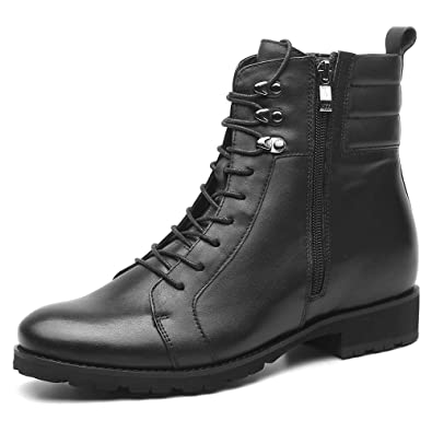 73dbd4fafa3a CHAMARIPA Genuine Leather Black Elevator Boots Motorcycle Boot Height  Increase Boots 7 cm  2.76 Inches