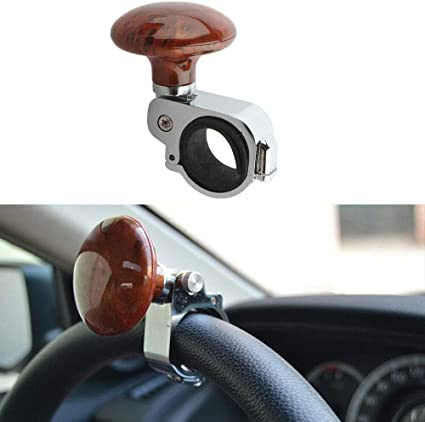 Black cicisame 1pcs Universal Car Truck Steering Wheel Aid Power Handle Assister Spinner Knob Ball