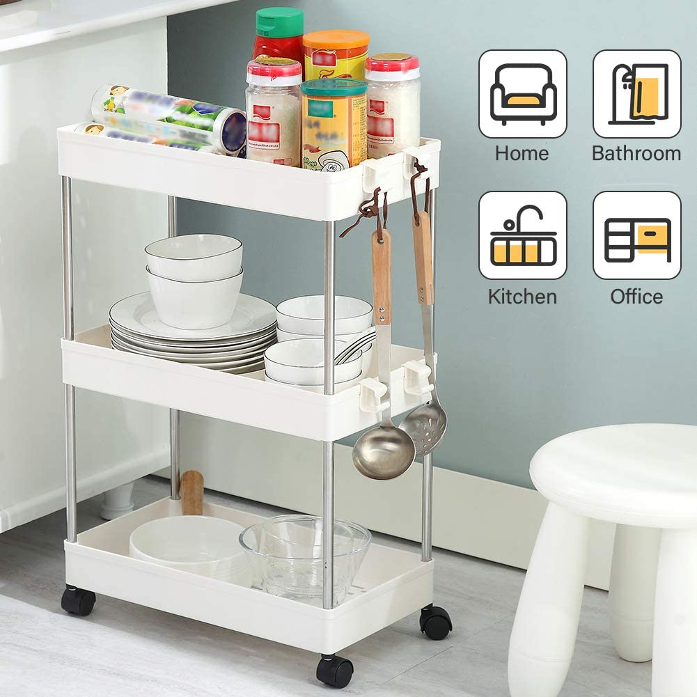 SPACEKEEPER 3-Tier Slide Out Storage Cart Rolling Utility Cart Storage Shelf Rack Mobile Storage Organizer Shelving for Office, Kitchen, Bedroom, Bathroom, Laundry Room & Dressers, White