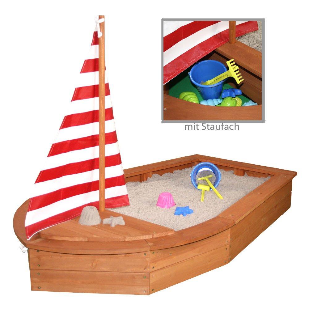 Sun Sandkasten Boot mit Segel und Abdeckplane Sandkiste Holzsandkasten by Woodinis®
