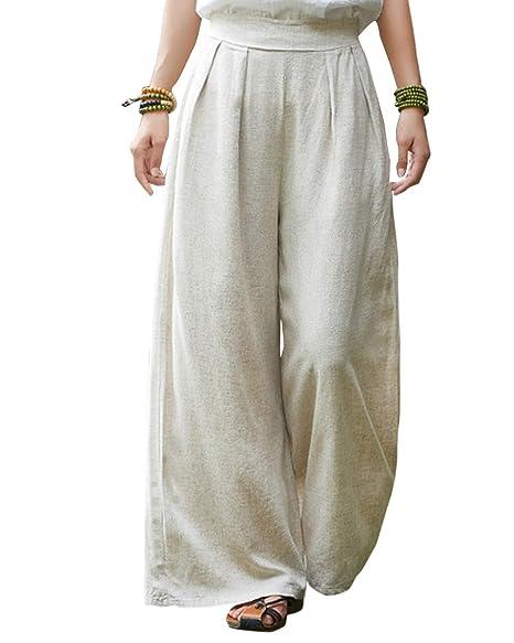 hot-selling discount suitable for men/women official images Aeneontrue Women's Cotton Linen Wide Leg Pants Front Pleated ...