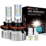 4WDKING H13 LED Headlight Bulbs - Fanless Super Bright Wrangler High/Low Beam 60W 8000LM 6500K Cool White 9008 Conversion Kit