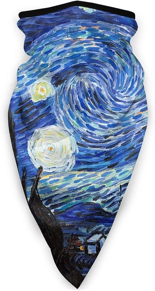 Van Gogh Starry Night Unisex Adult Outdoors Windproof Mask Dust Sports Face Mask Half Balaclava Mask Cold Weather Bandana Women Men Festivals Gifts