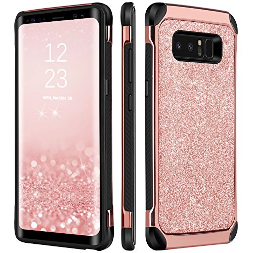 Note 8 Case, BENTOBEN 2 In 1 Glitter Sparkle Bling Hybrid Hard Cover Shiny Faux Leather Chrome Shockproof Bumper Protective Phone Case for Samsung Galaxy Note8(6.3 inch) Rose Gold (Leather Telephone)
