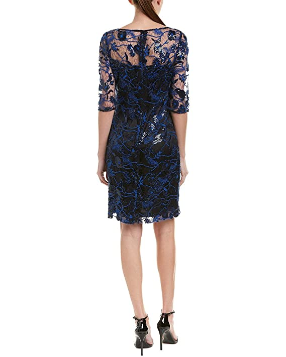 7c065371a44 Tahari by ASL Women s Embroidered Mesh Sheath Dress Black Lapis Navy 2 at  Amazon Women s Clothing store