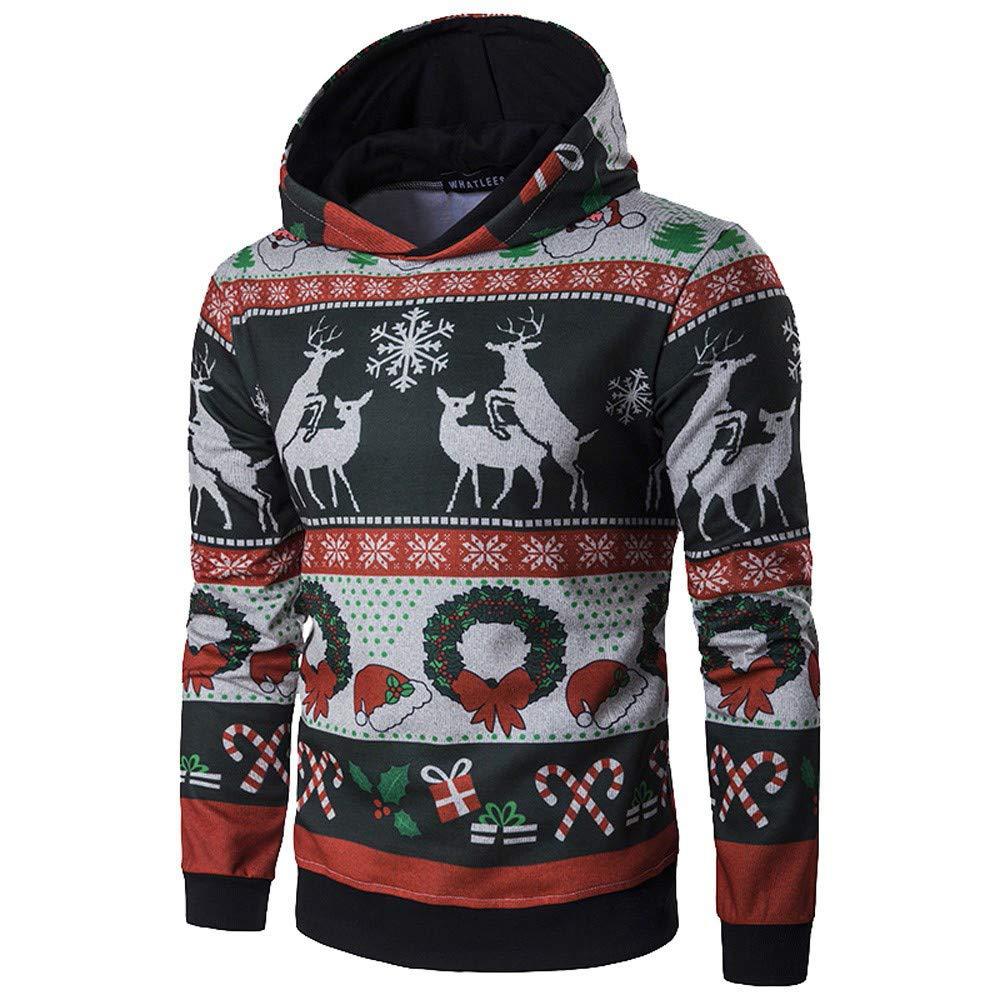 ¡ Gran promoció n!Rovinci Hombres Mujeres Amantes Sudaderas Invierno Navidad de Manga Larga con Capucha Abrigos Jersey Outwear Tops Blusas