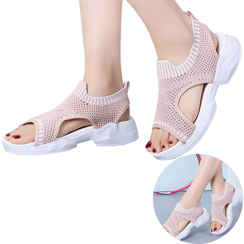Clearance! Swiusd Women's Girls Comfy Sport Sandals Mesh Peep Toe Slingback Loafer Sneakers Sandals Flat Thick Bottom Shoes (Pink, 7 M US)