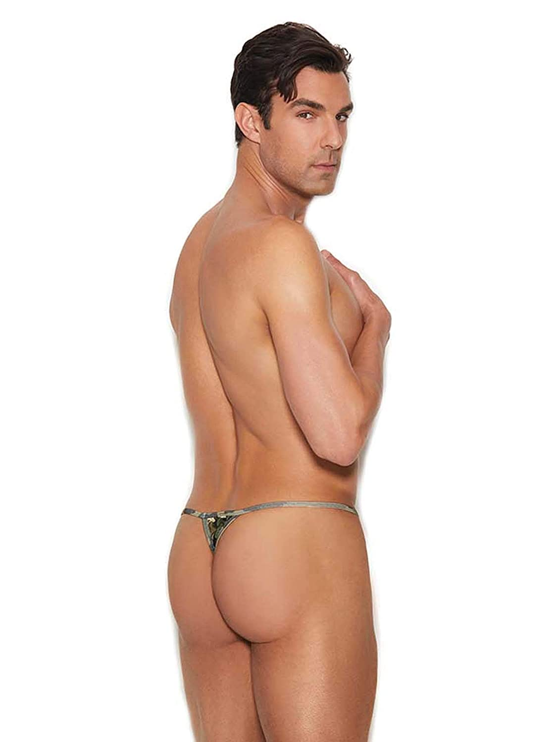 Elegant Moments Mens Camouflage Print T Back G-String Pouch Thong Underwear