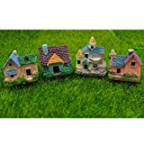 #7: EMiEN 4 Pieces Mini Villa House Miniature Ornament Kits,Miniature Ornament for DIY Dollhouse Decoration Fairy Garden Plant Décor