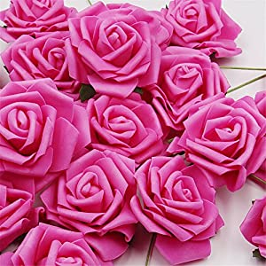 Noex Direct 30 PCS Artificial Flowr Rose Real Touch Artificial Roses for DIY Bouquets Wedding Party Baby Shower Home Decor - Fuchsia 7