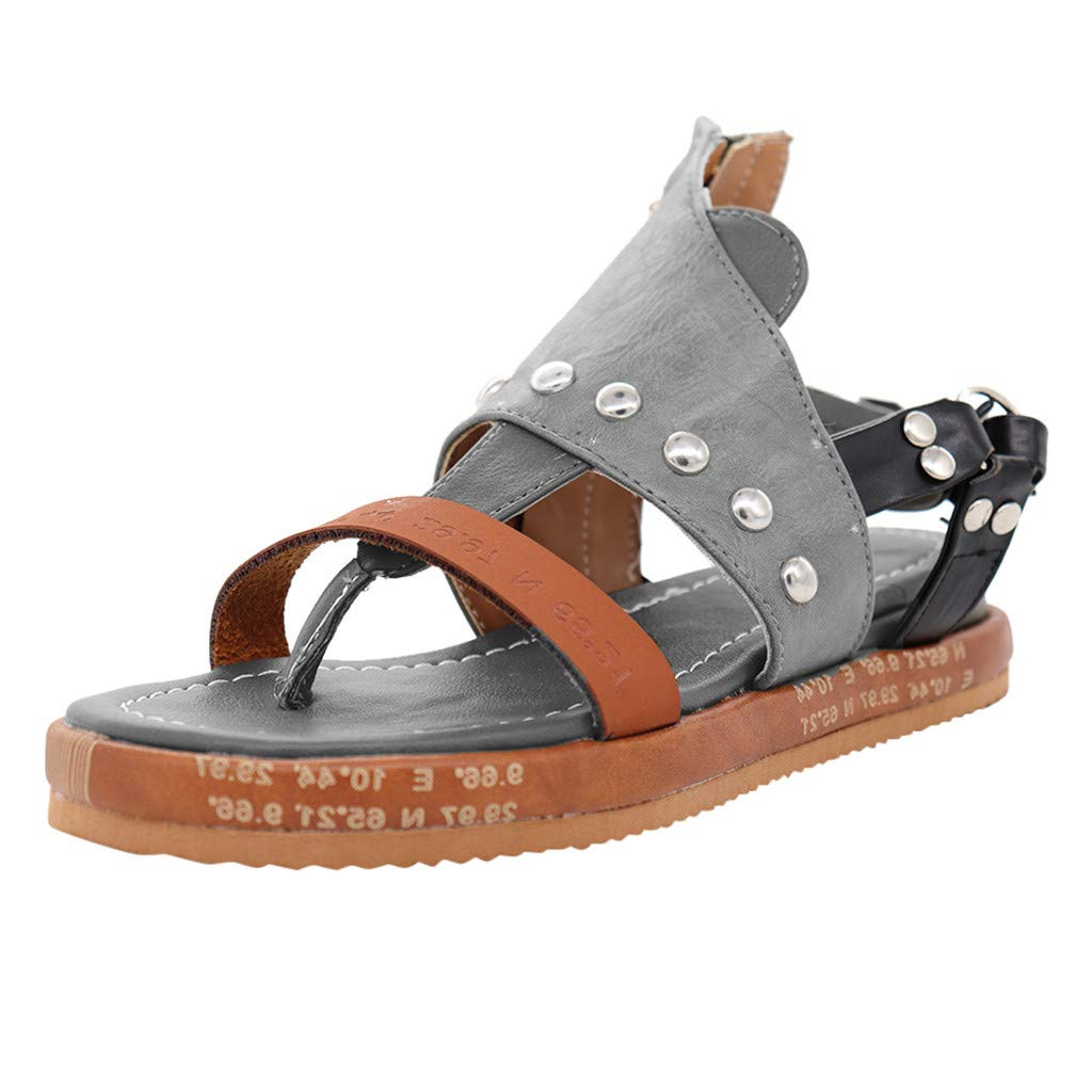 Women's Comfy Platform Sandal Shoes Open Toe Ankle Strap Flat Shoes Casual Gladiator Flat Sandals Fisherman Thong Sandals (Gray, US:11.5) by Cealu