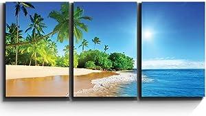 "wall26 - Palm Trees on Tropical Beach - Canvas Art Wall Art - 16""x24""x3 Panels"