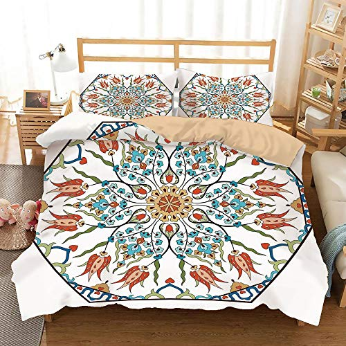 Islamic Antique (SoSung Antique Khaki Duvet Cover Set Full/Queen Size,Ottoman Turkish Floral Pattern Tulips Medieval Baroque Effect on Dated Islamic Art,Decorative 3 Piece Bedding Set with 2 Pillow Shams,Multicolor)