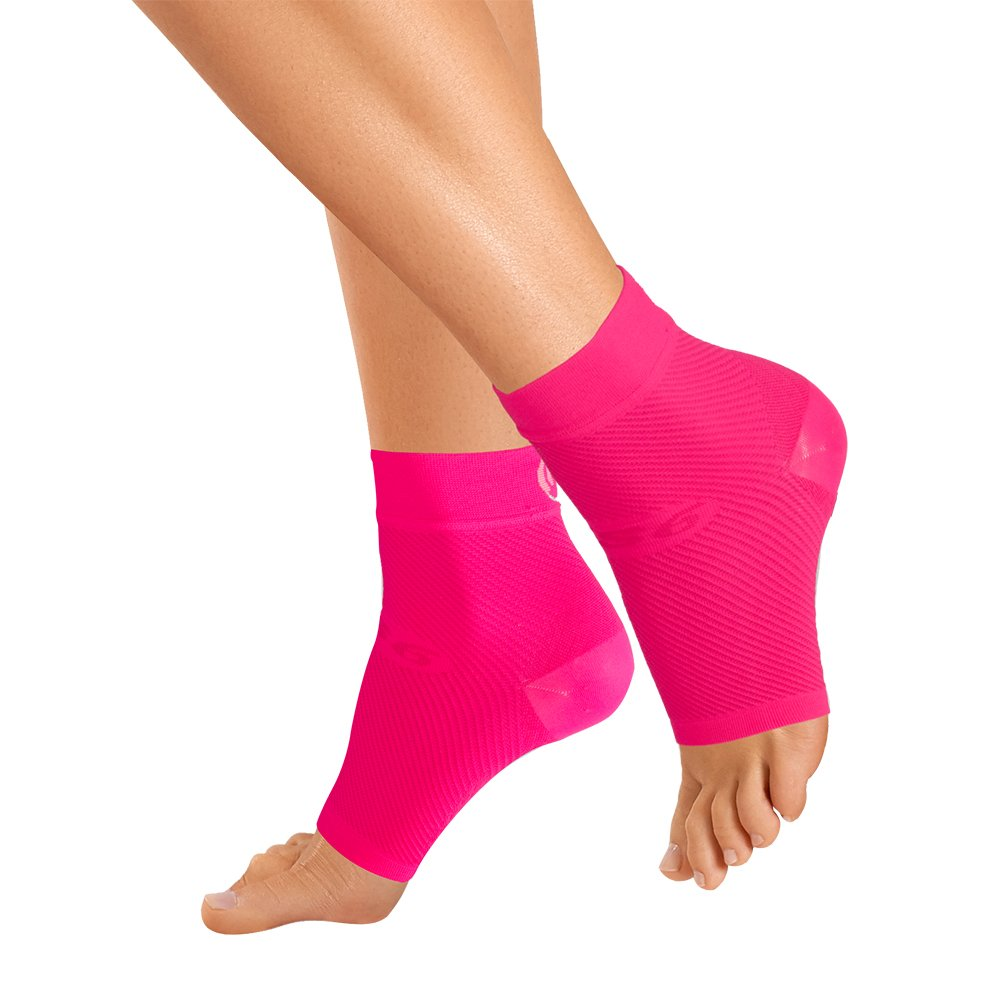 OrthoSleeve FS6 Compression Foot Sleeve (One Pair) for Plantar Fasciitis, Heel Pain, Achilles Tendonitis and Swelling (Pink Fusion, Small) by OrthoSleeve