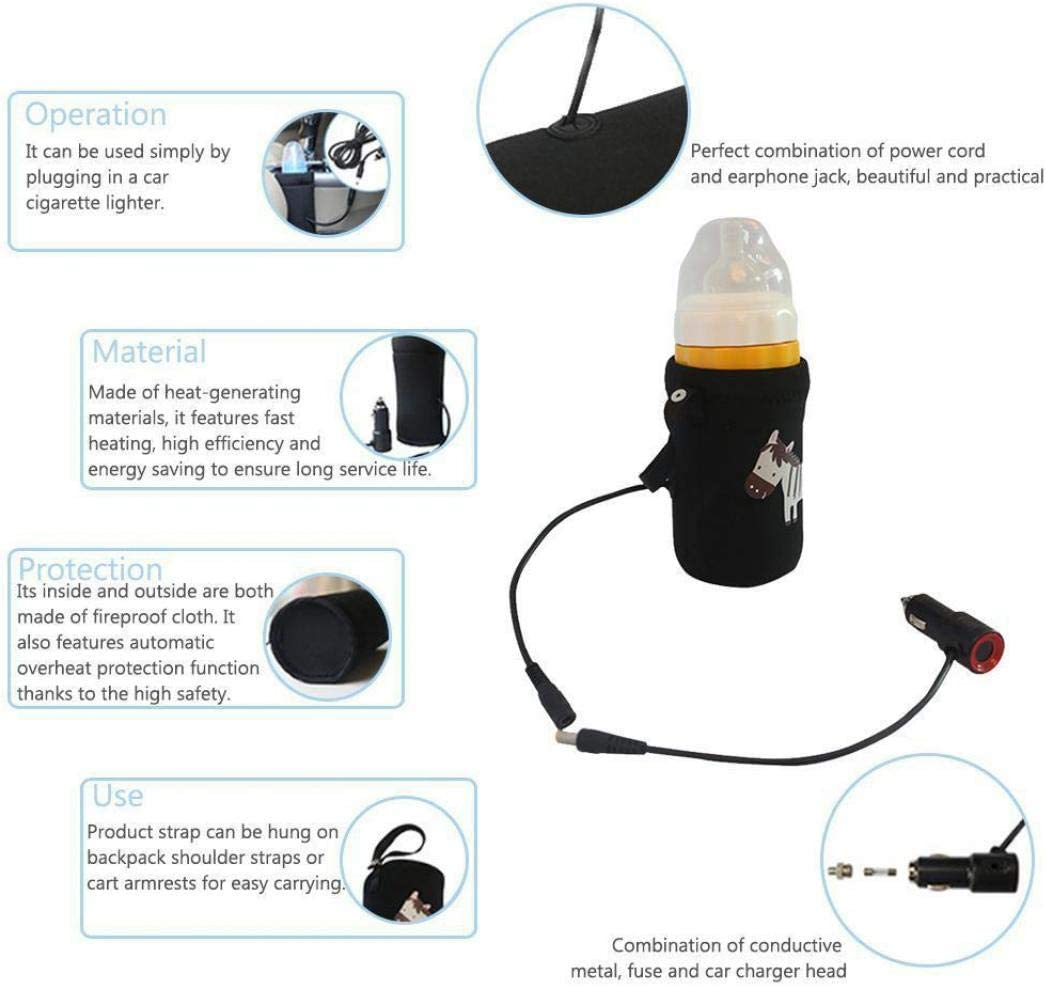Black Ugthe Universal Car Travel Safety Temperature-Heated Car Warmer Car-Filled Baby Bottle 12V
