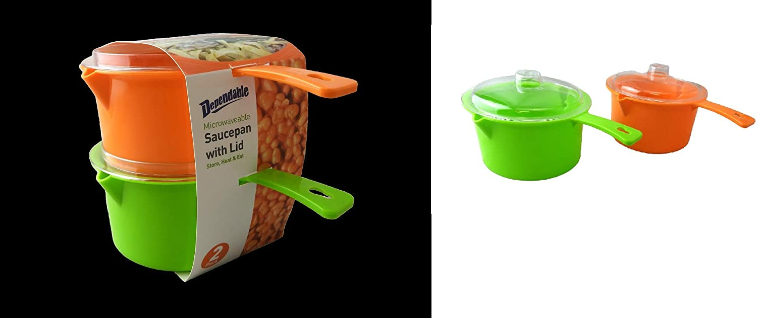 Set of 2 Microwave Saucepan With Lid Store Heat and Eat 800ml each