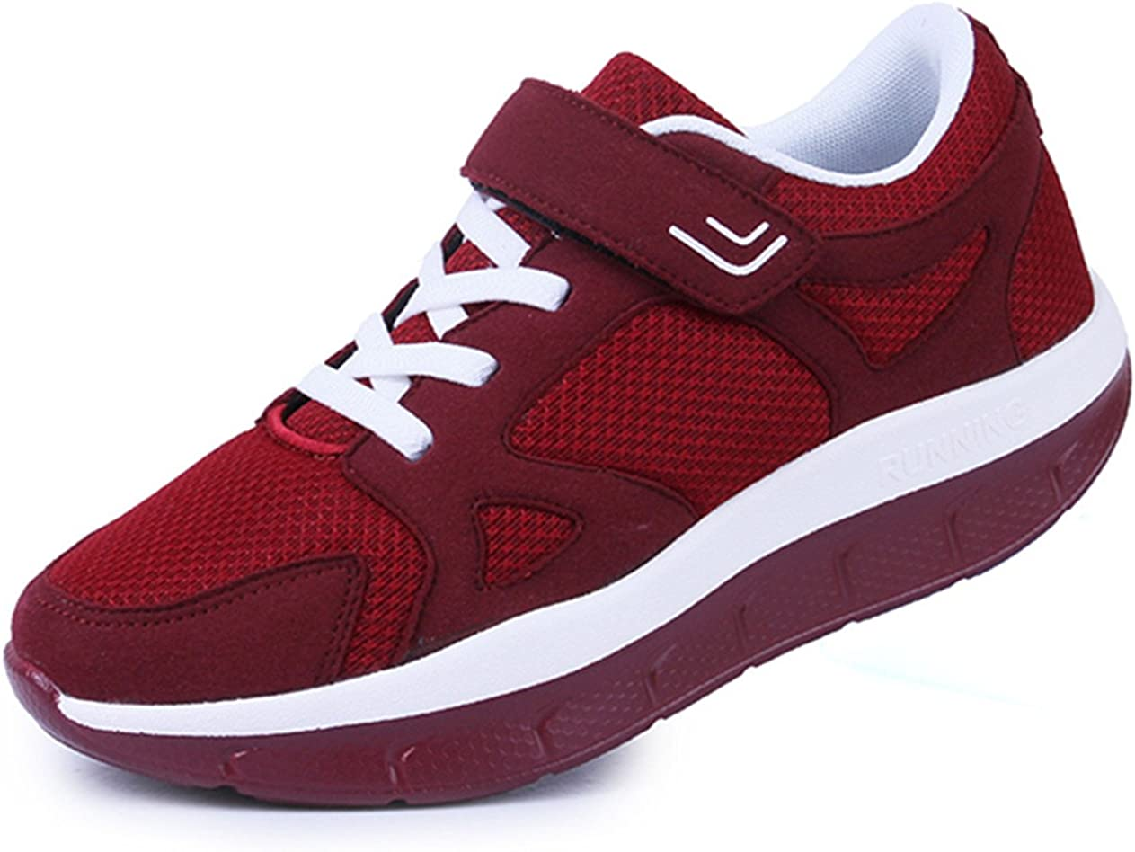 DADAWEN Women's Platform Wedges Tennis Walking Sneakers Comfortable Lightweight Casual Fitness Shoes