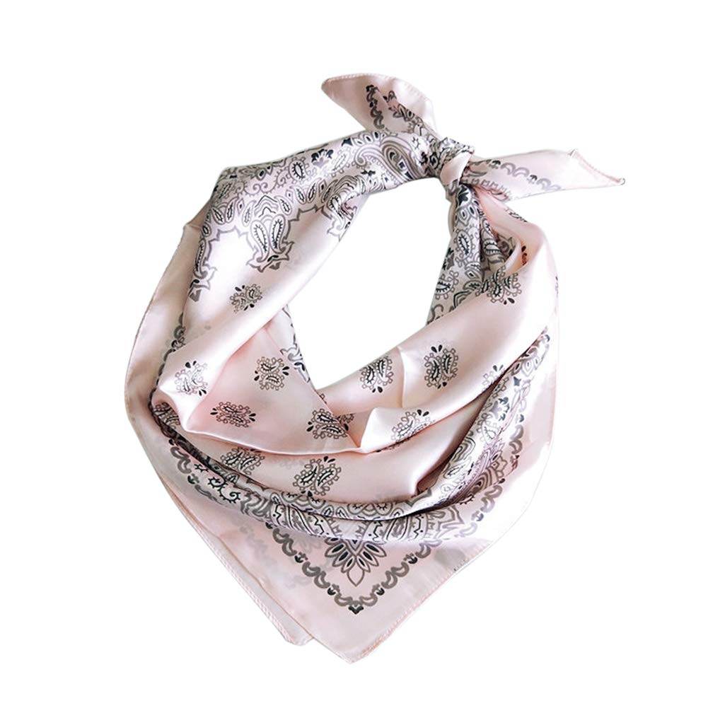 Guoainn Fashion Flower Print Square Bandana Head Wrap Scarf Neck Mask Dress Accessories 1#