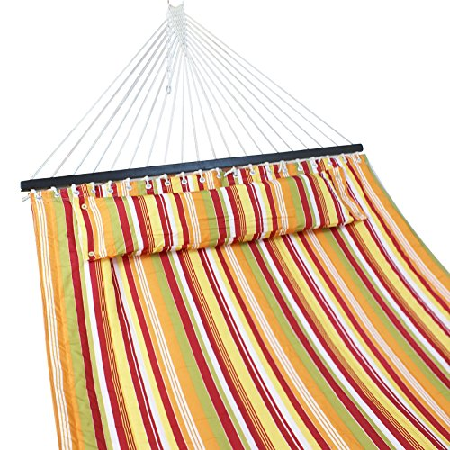 ZENY Double Hammock Quilted Fabric w/Detchable Pillow Wooden Spreader Bar,Heavy Duty 450 Lbs Capacity,Camping Beach Garden Yard Hammock (Yellow Stripe)