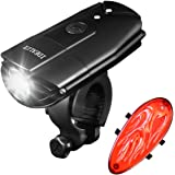 IDEALUX Bicycle Lights - 900 Lumens Super Bright Bike Lights Front and Back - Rechargeable LED Bike Light Set - Easy to Install Headlight & Taillight - IP65 Waterproof - Cycling Safety Flashlight