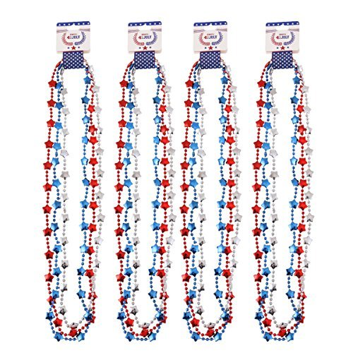 4th of July Star Beads Necklaces For Patriotic Party Accessories, Fourth of July Party Supplies (12 Pack)