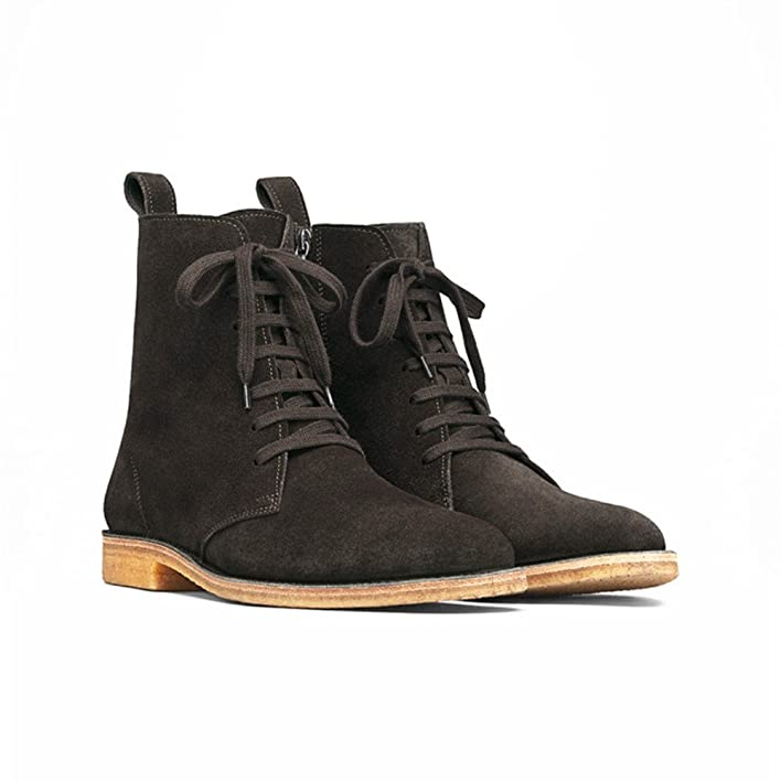 Mens Suede Lace Up High Top Round Toe Chelsea Ankle Boots Winter Riding Shoes (US 7)
