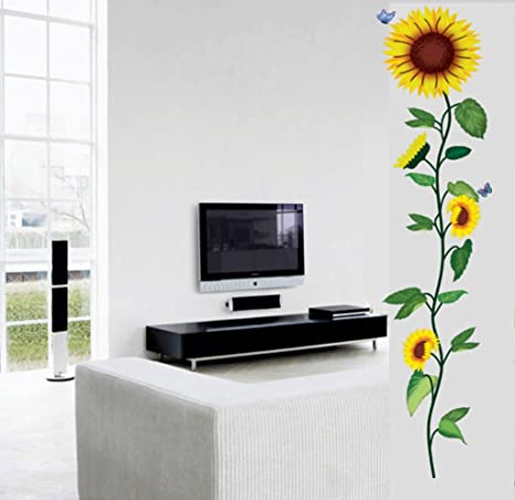 Decals Design 'Morning Sunflowers' Wall Sticker (PVC Vinyl, 70 cm x 50 cm), Multicolour Wall Stickers at amazon
