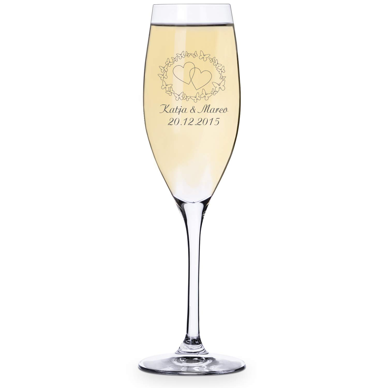 Personello® Sektglas mit Gravur, Sektglas graviert mit Namen und Datum (Jahrestag, Hochzeitstag, etc.)