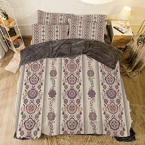 iPrint Flannel 4 Pieces on The Bed Duvet Cover Set for Bed Width 6.6ft Pattern by,Floral,Middle Eastern Ottoman Medieval Authentic Ornamental Arabesque Pattern,Eggshell Dried Rose -