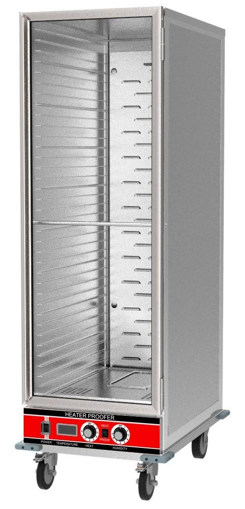 Chef's Exclusive CE801 Heater Proofer Holding Cabinet Insulated Clear Door 1500 Watts Commercial Full Size Holds (35) 18in x 26in Sheet Pans Forced Air With Casters For Mobile Use, 22.8in Wide