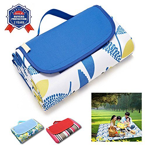 Outdoors Beach Blanket Mat Waterproof and Sandproof Camping Environmentally friendly and easy to clean (Blue leaves) (78.7x57inches)