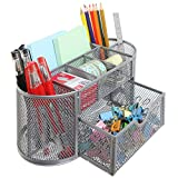 8 Compartment Metal Wire Desktop Office School Supplies Organizer Caddy with Pullout Drawer, Silver