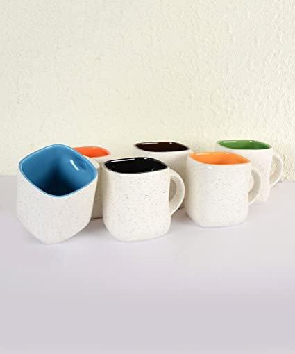 Stylemyway Handcrafted White Matte Square Ceramic Mug-Set Of 6
