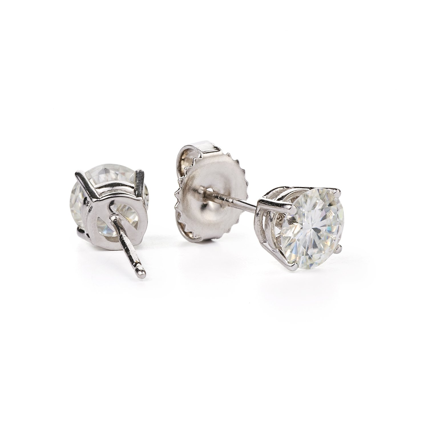 Forever Classic Round Brilliant Cut Moissanite Stud Earrings by Charles Colvard